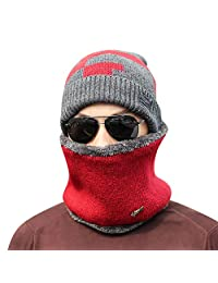 AMSKY 2-Pieces Winter Beanie Hat Scarf Set Warm Knit Hat Thick Knit Skull Cap Unisex