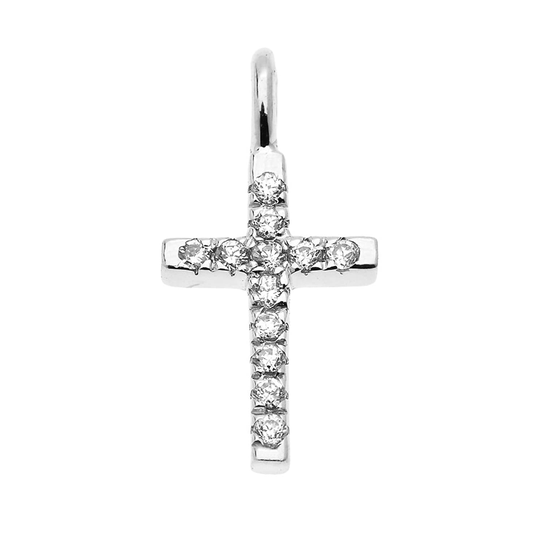 Beautiful 14k White Gold Diamond Cross Dainty Charm Pendant