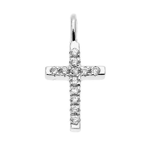 14K Solid White Italian Gold Key CZ Cubic Zirconia Dainty Charm Flower Pendant