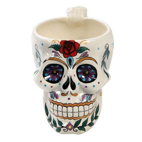 White Day of the Dead Red Rose Sugar Skull Drink Coffee Mug Cup ()