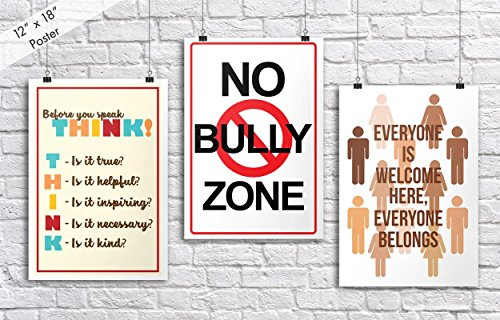 (Classroom Poster 3-Pack (1 Each THINK, No Bully Zone, Everyone is Welcome) | Each Poster is 18-Inches By 12-Inches | Premium 100lb Gloss Poster Paper | JSC752 )