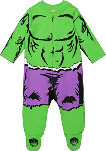 Marvel Avengers The Hulk Baby Boys' Zip-Up Costume Coverall with Footies (0-3 Months) -