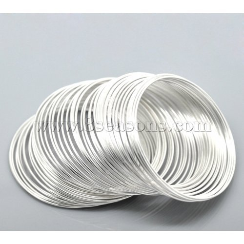 TOOGOO(R) 100Loops Silver Plated Memory Beading Wire for Bracelet 50mm-55mm(2