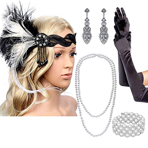 QANYUE 1920s Flapper Headpiece White Feathers Headband Earrings Necklace Bracelet Gloves Accessories Set for -