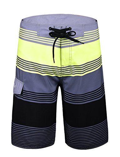 Nonwe Men's Summer Swimming Wear Swim Trunks Grey Stripes 34