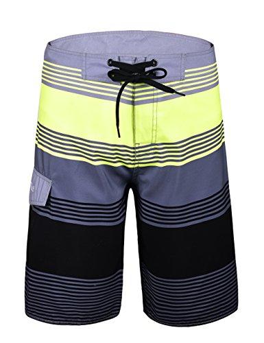 NONWE Men's Surf Swim Volley Runner Beach Board Shorts Grey stripes 36 by Nonwe