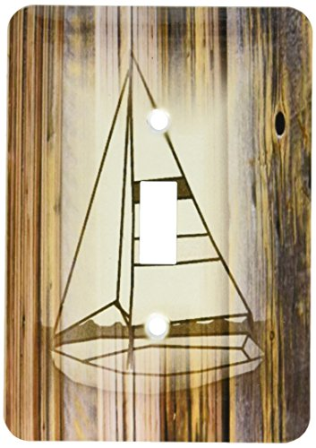 3dRose lsp_174003_1 Image of Sepia Sailboat on Wood Light Switch Cover