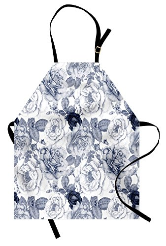 Ambesonne Shabby Chic Apron, Garden Spring Roses Buds with Leaves Flowers Romantic Image Artwork, Unisex Kitchen Bib Apron with Adjustable Neck for Cooking Baking Gardening, Blue Grey and White -