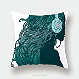 Custom Satin Pillowcase Protector Profile Of Pretty Girl With Long Hair In Headphones 108279221 Pillow Case Covers Decorative