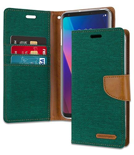 LG V30 Case, LG V30 Plus Wallet Case [Shockproof] Mecury Canvas Diary Ver.Magnetic [Denim Material] Card Holder with Kickstand Flip Cover for LG V30 / LG V30 Plus/LG V30S - Green, LGV30-CAN-GRN ()