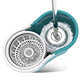 TOP Spin Mop, Bucket with wringer Suit Free- hands wash Mop Cleaner dry and wet Mop For Living room Kitchen Dining room 4 x microfiber pads-Blue