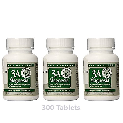 3 Pack - Lane Medical - 3A Magnesia Total 300 Tablets Relief of Constipation / Daily Regularity / Safe / No cramping / Excellent Value