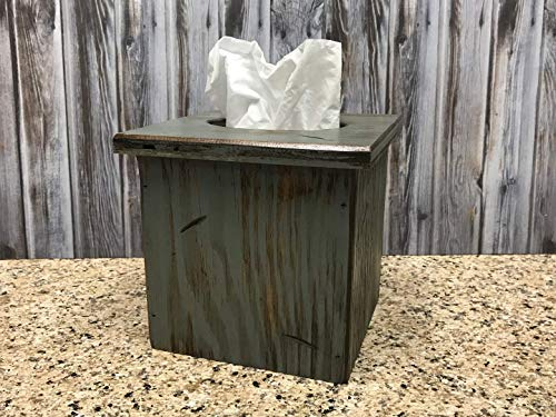 TISSUE BOX COVER WOODEN Square for Kleenex - Rustic Distressed Wood - Antique Barn Red, Off-White Cream, River Rock Gray Blue *Bathroom, Kitchen, Bedroom, Living Room Decor