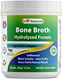 Best Naturals Bone Broth Hydrolyzed Protein Type I & Type III Collagen unflavored 445 Gram (15.70 oz) Water Soluble – Easy to Mix For Sale