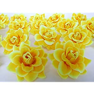 """(50) Silk Yellow Roses Flower Head - 1.75"""" - Artificial Flowers Heads Fabric Floral Supplies Wholesale Lot for Wedding Flowers Accessories Make Bridal Hair Clips Headbands Dress 1"""