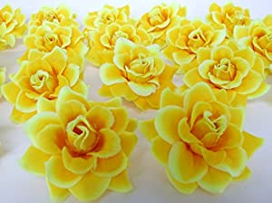 Amazon 50 silk yellow roses flower head 175 artificial 50 silk yellow roses flower head 175 artificial flowers heads fabric floral supplies wholesale lot for wedding flowers accessories make bridal hair mightylinksfo