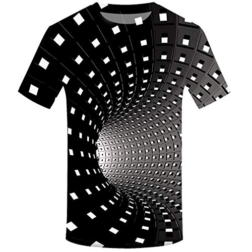 Men's 3D Printing T-Shirt Fashion Heavyweight Crew Neck Short Sleeve Cotton Printed Casual Preppy Style Tees Tops Black