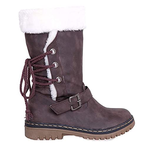 JOYTO Winterstiefel Damen Warm Gefütterte Stiefelette Schneestiefel Blockabsatz Fell Kniehohe Winter High Boots Langschaft Flach Schwarz Braun Beige