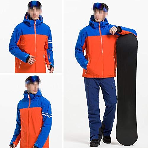 EXCLVEA Vêtements d'hiver Chauds pour de Nombreux Sports Manteaux de Ski Chauds imperméables au Vent avec Manteau pour Hommes (Couleur : Orange/Royal Blue, Taille : XXL)