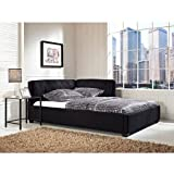 Tufted Lounge Reversible Full Bed, Black Finish, Hardwood Frame, Upholstered Headboard, Wood, Bedroom Furniture,Bundle with Expert Guide ''Happiness, Health and Better Life''