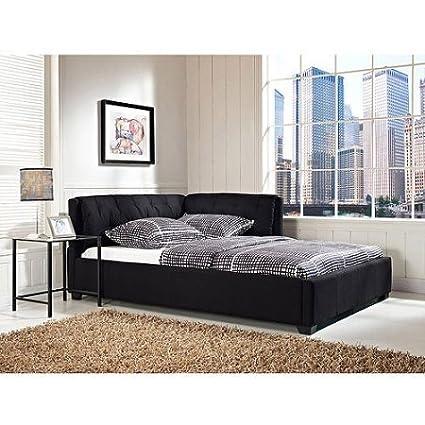 Amazon.com: Tufted Lounge Reversible Full Bed, Black Finish ...