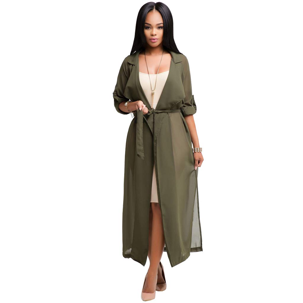 Womens Chiffon Cardigan Maxi Dress,Half Sleeve Solid V-Neck Cover up Lace Top Blouse with Belt,Fashion Shirt Style for Ladies Green