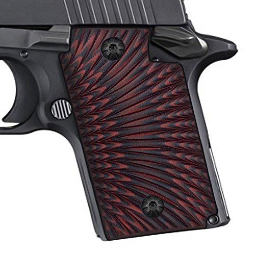 COOL HAND Sig Sauer P938 Grips, Sunburst Texture ,G10,Red/Black