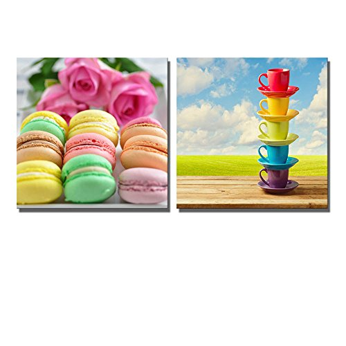 Macarons and Rainbow Color Cups on Wooden Table over Beautiful Sky and Meadow Background Wall Decor ation x 2 Panels