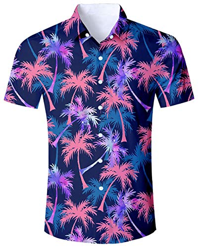 ALISISTER Leaf Print Shirt Male Adult Hawaiian 3D Maple Leaf Shirts Aloha Short Sleeve Tropical Blouses Button Fly XL