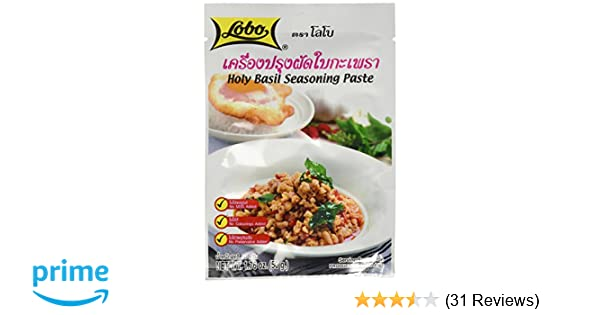 Amazon.com : Lobo brand Thai Holy basil seasoning paste - 1.76 oz each (5 packs) : Stir Fry Sauces : Grocery & Gourmet Food