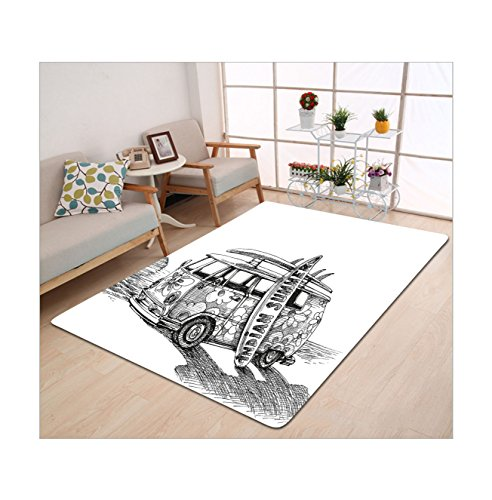 [Kisscase Custom carpet Sketchy Hot Summer Californian Surfing Vintage Car Sea Shore Beach Art Black White and Charcoal Grey] (The Californians Costume)