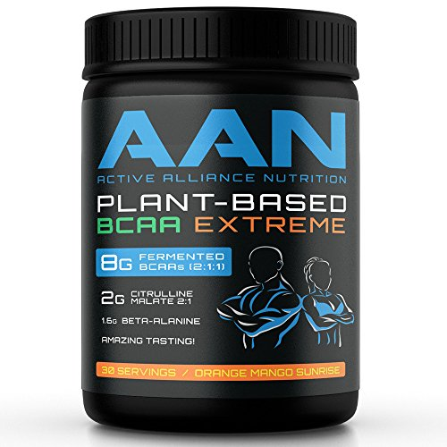 AAN Natural Plant-Based BCAA Powder Drink – Vegan Friendly, Fermented BCAAs, Citrulline Malate, Beta-Alanine – Intraworkout, Post-Workout and Pre Workout Protein Building 30 Servings, Orange Mango