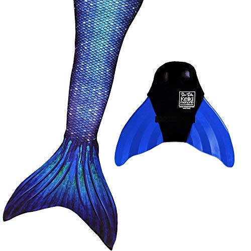 Sun Tails Mermaid Tail + Monofin for Swimming (5- Teen/Adult M (JM 8-10), Ocean Deep - Blue Monofin)