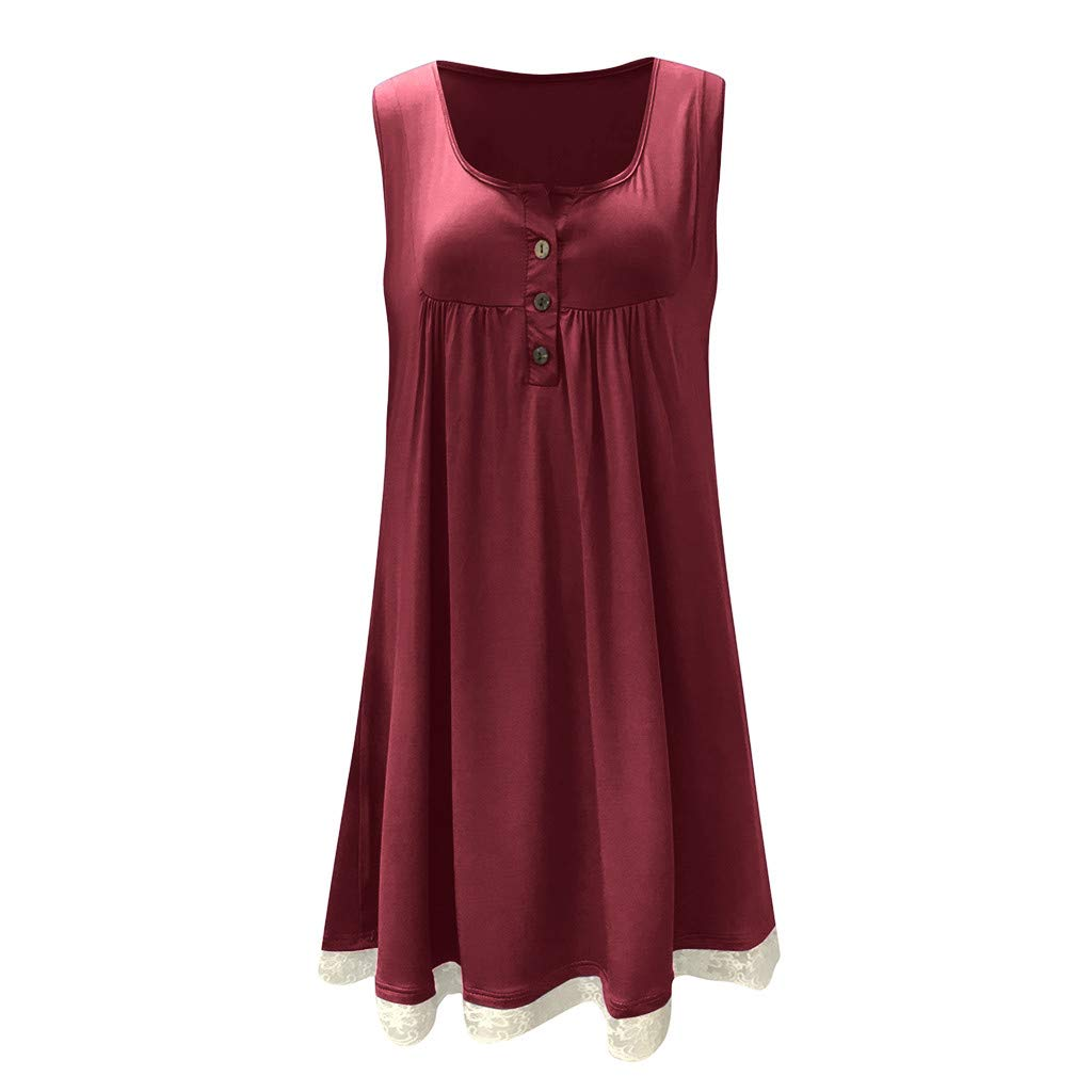 Alangbudu Women's Sleeveless Casual Loose Plain Pleated Tank Loose T-Shirt Lace Hem Swing A-Line Dress No Pocket Wine