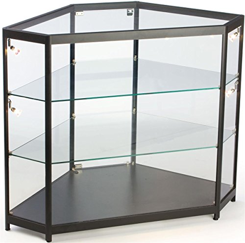 - Hexagon Shaped Corner Display Cabinet, with Aluminum Extrusions and Black Laminate Base