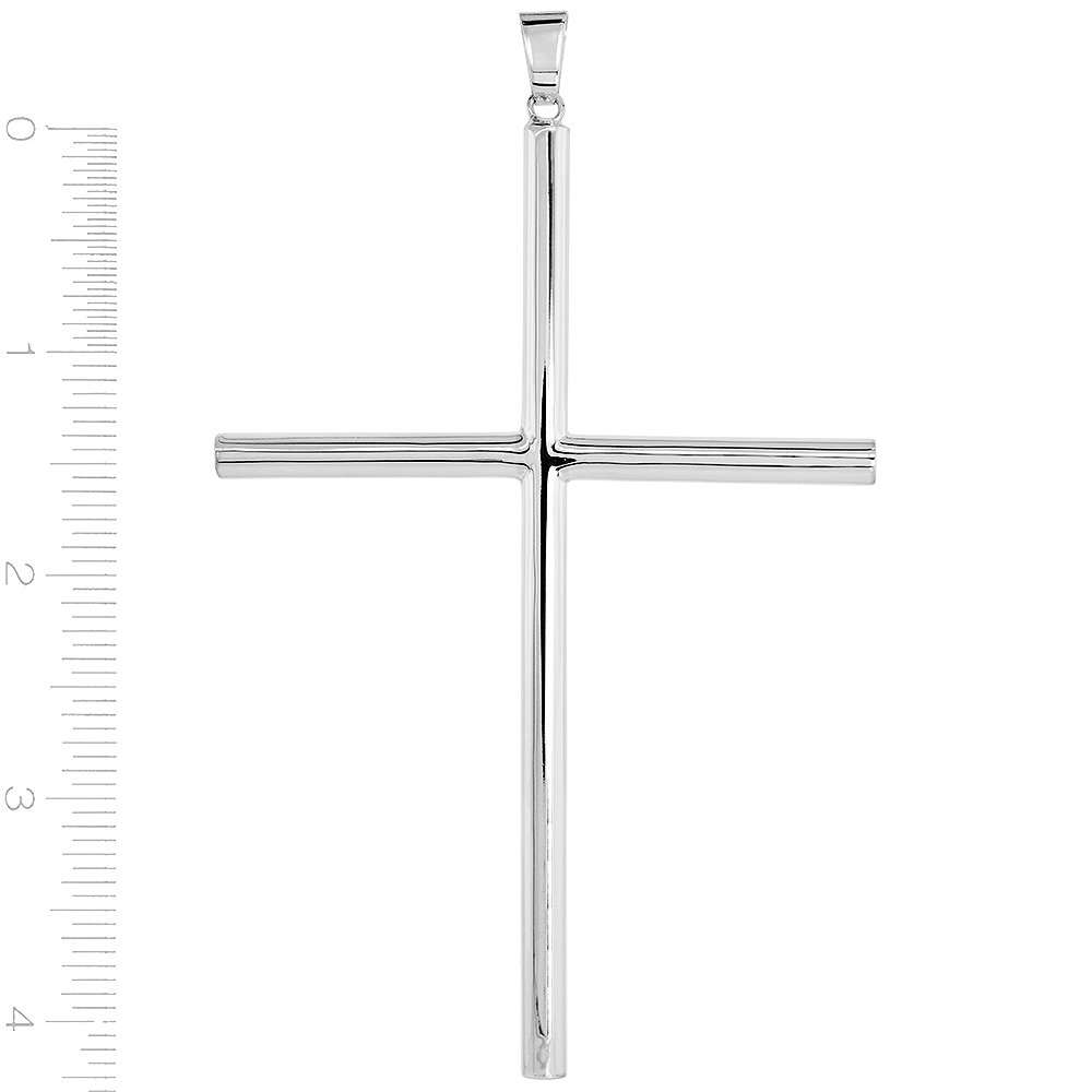 Sterling Silver Large Plain Cross Pendant Tubular High Polished 1 3//4-4.0 inches long