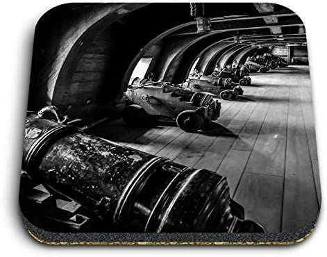 Destination 37074 - Imanes cuadrados de madera DM - BW - Vintage pirata barco galeón pistolas para oficina, gabinete y pizarra blanca, pegatinas magnéticas,