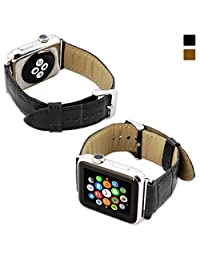 Snugg™ Apple Watch Genuine Leather Strap with Lifetime Guarantee (Black) - 38mm Wrist Strap for the Apple Watch