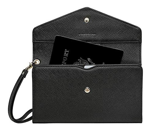 Krosslon Travel Passport Holder Wallet for Women Rfid Blocking Document Organizer Tri-fold Wristlet Bag