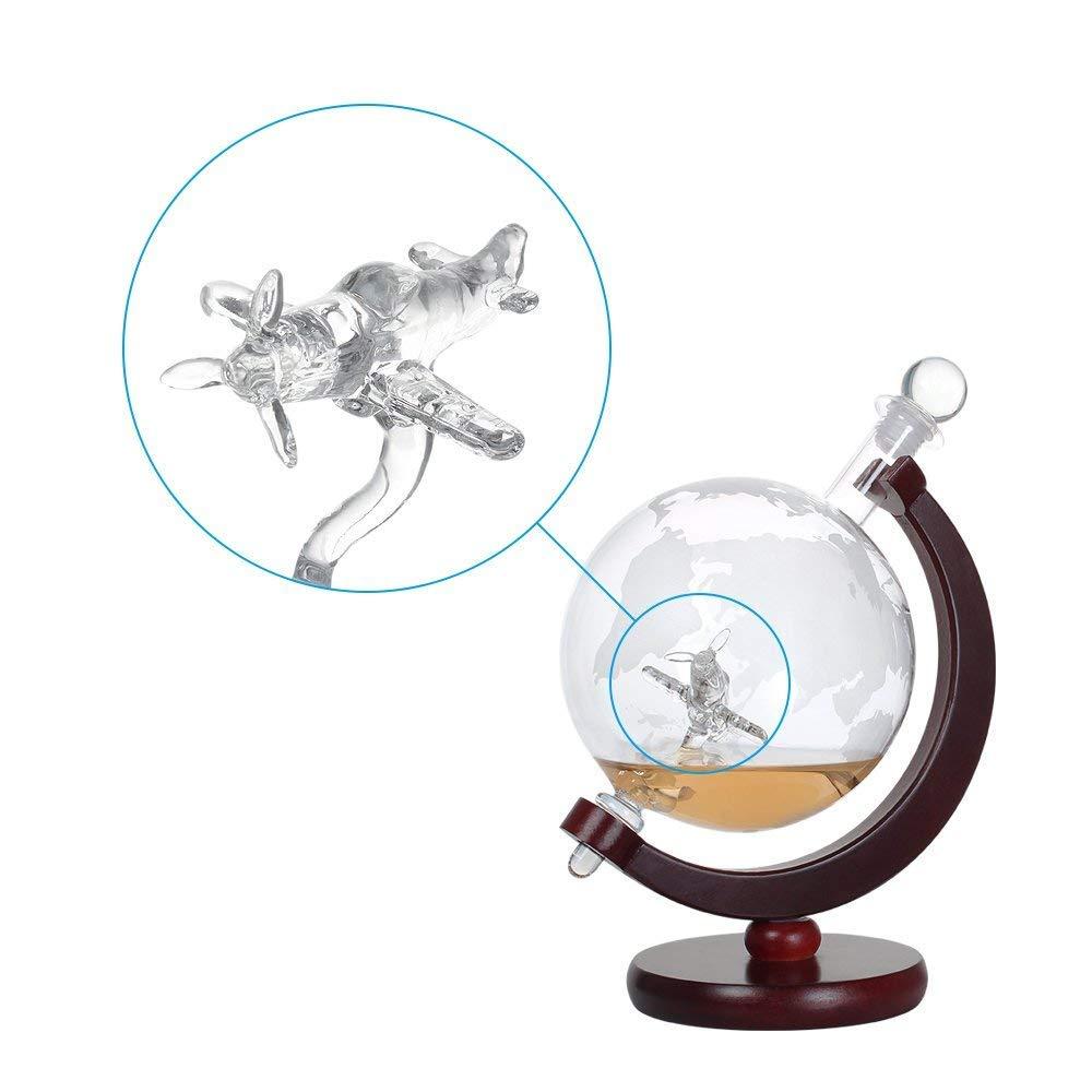 maison r/échauffement des cadeaux cadeaux de Saint Valentin NEX grav/é au monde Globe /à d/écanter en verre fait avec avion