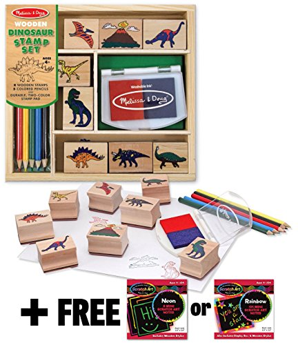 Dinosaur: Wooden Stamp Set + FREE Melissa & Doug Scratch Art