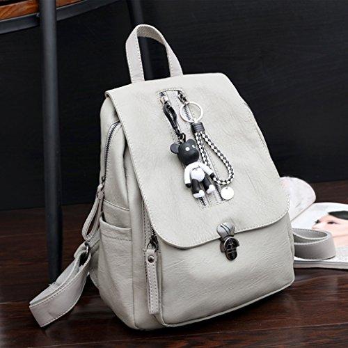 sauvage cuir d'école White gray bandoulière à simple option en la Sac ZCM Mme Version sac féminine 2 couleurs souple sac de à Pu mode femelle sac en dos FpwUxzq7w