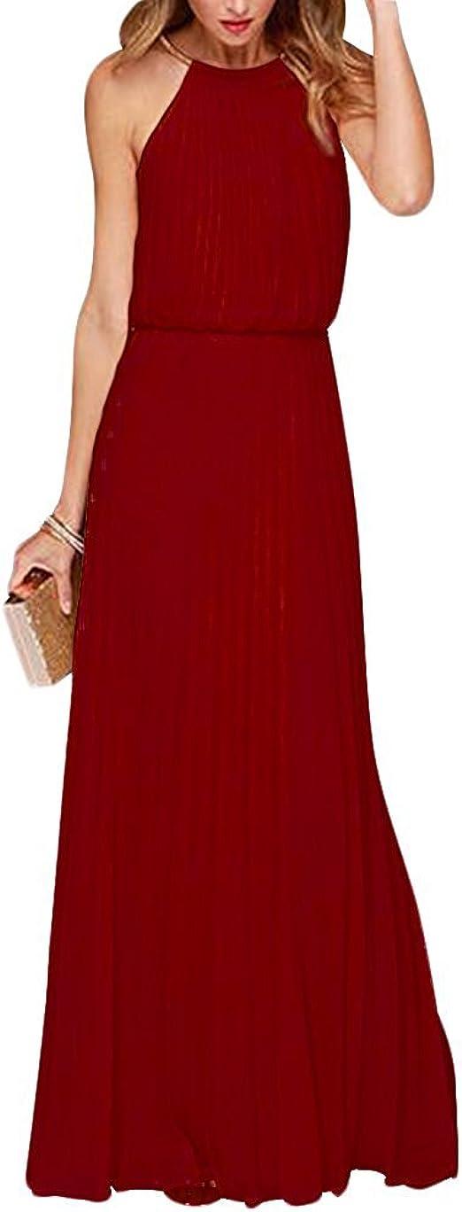 Yigoo Festliche Elegant Kleider Damen Festlich Hochzeit Neckholder Vintage Abendkleid Schulterfrei Cocktailkleid A-Linie Lang Chiffon Rot XL
