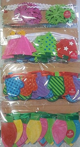 Christmas tree felt garland 120 in long (12 packs) lights, trees, mittens and snowflakes (Snowflake Garland Felt)