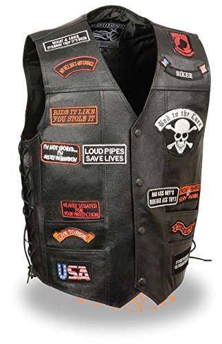 Men's Motorcycle Classic PRE- Patches Real Leather Vest Side Laces Black New (5XL) ()