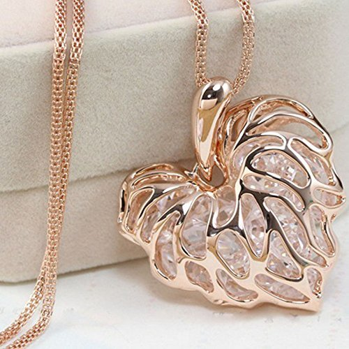 [Fashion Women Gold Plated Heart Bib Statement Chain Pendant Necklace Jewelry NEW Gold.] (Vintage Costume Jewelry Lot)