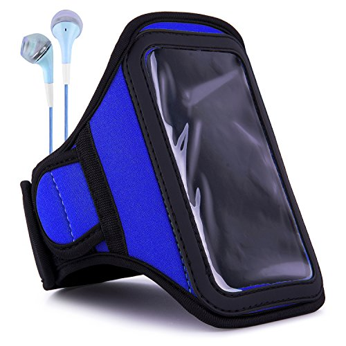 Active Sports Workout Sweat Proof Water Resistant Armband (Royal Blue) with in Ear Headphones for Samsung Galaxy A8, A6, A5, Galaxy S10, 10e, S9, S8, Galaxy J7 Series, M10 (Best Sweat Proof Headphones)