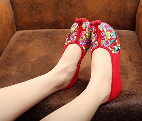 WXT Zapatos bordados ópera china, lenguado del tendón, estilo étnico, femaleshoes, manera, cómodo Red