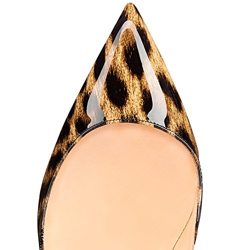 Punta Leopardato Stampa nero Con E Eks Cm Alto Brevettata Scarpe Per Tacco A 10 Donna A6qqxdH