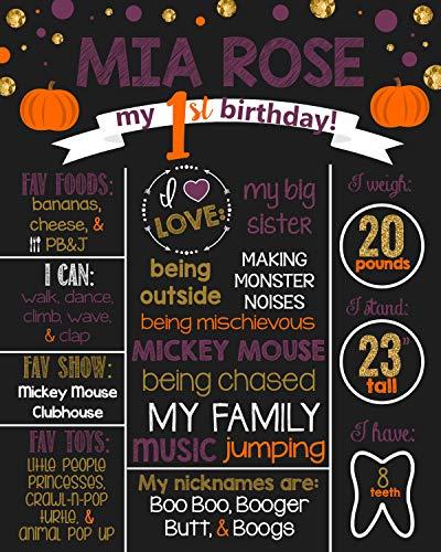 Dozili Personalized Fall - Halloween- Pumpkin Birthday Chalkboard Style Metal Sign- Birthday -Printable Birthday Chalkboard Style Metal Sign- Birthday Board- Personalized Custom Sign -